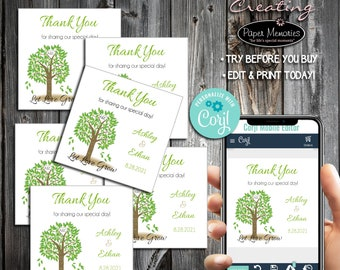 Tree Favor Stickers - Editable Text, Download, Personalized, Wedding, Labels, Birthday, Baby Shower, Anniversary, Favors, Let Love Grow