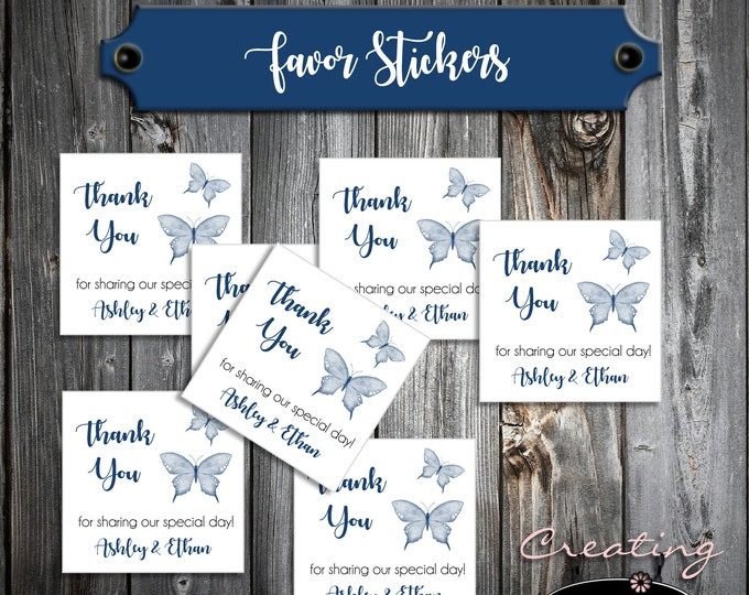 100 Wedding Favor Stickers - Butterfly - Printed - Personalized Square labels are 2 inches by 2 inches - Butterflies