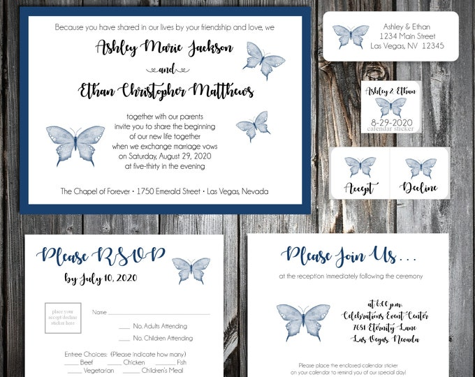 50 Wedding Invitations - Monogram Floral Letter - RSVP - Inserts - Printed -Personalized - Return Address Labels - Stickers