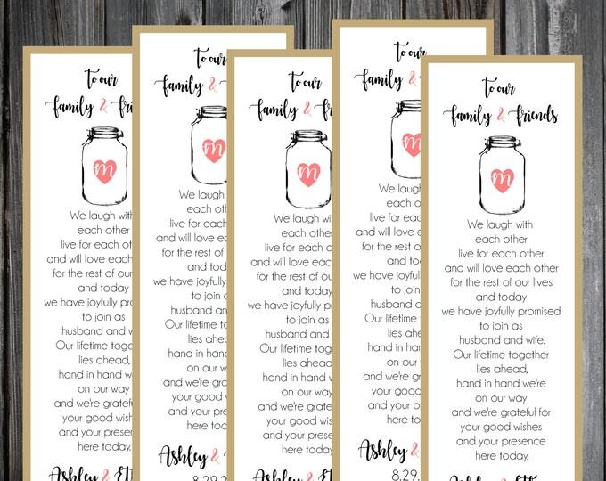 100 wedding Bookmarks - Mason Jar - Printed - Personalized - Wedding Favors