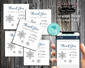 Snowflake Favor Stickers - Editable Text, Download, Personalized, Wedding, Labels, Birthday, Baby Shower, Anniversary, Favors, Snowflakes