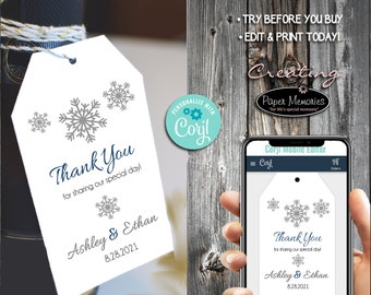 Snowflake Favor Tags - Editable Text, Download, Personalized, Wedding, Birthday, Baby Shower, Anniversary, Gift Tags, Winter Wonderland