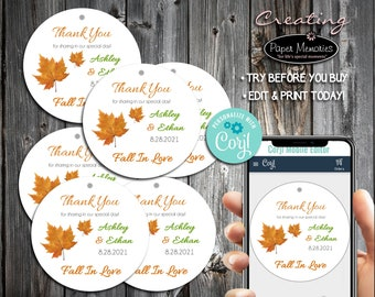 Fall Leaf Favor Tags - Editable Text, Download, Personalized, Wedding, Birthday, Baby Shower, Anniversary, Gift Tags, Fall In Love Leaves