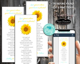 Sunflower Bookmarks - Editable Text, Download, Personalized, Wedding, Favor, Birthday, Baby Shower, Anniversary