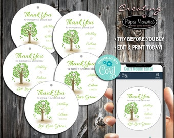 Tree Favor Tags - Editable Text, Download, Personalized, Wedding, Birthday, Baby Shower, Anniversary, Gift Tags, Let Love Grow