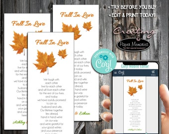 Fall Leaf Bookmarks - Editable Text, Download, Personalized, Wedding, Favor, Birthday, Baby Shower, Anniversary, Fall In Love Leaves