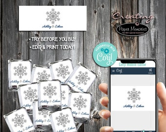 Snowflake Candy Wraps - Editable Text, Download, Personalized, Wedding, Wrappers, Birthday, Baby Shower, Anniversary, Favors, Snowflakes