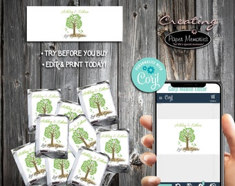 Tree Candy Wraps - Editable Text, Download, Personalized, Wedding, Wrappers, Birthday, Baby Shower, Anniversary, Favors, Let Love Grow