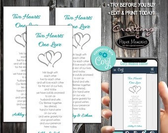 Hearts Bookmarks - Editable Text, Download, Personalized, Wedding, Favor, Birthday, Baby Shower, Anniversary, Two Hearts One Love