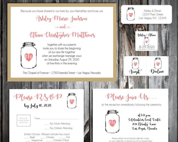 50 Wedding Invitations - Mason Jar - RSVP - Inserts - Printed - Personalized - Return Address Labels - Stickers