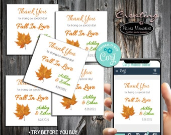 Fall Leaf Favor Stickers - Editable Text, Download, Personalized, Wedding, Labels, Birthday, Baby Shower, Anniversary, Favors, Fall In Love