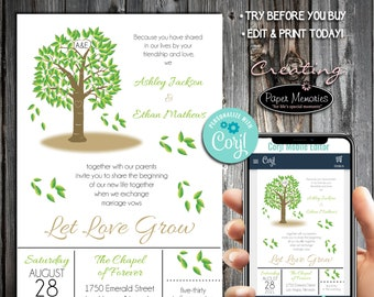 Tree Invitations Set, RSVP, Inserts - Editable Text, Download, Personalized, Wedding, Birthday, Baby Shower, Anniversary, Let Love Grow