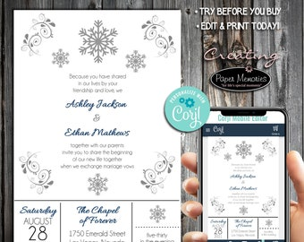 Snowflake Invitations Set, RSVP, Inserts - Editable Text, Download, Personalized, Wedding, Birthday, Baby Shower, Anniversary, Snowflakes