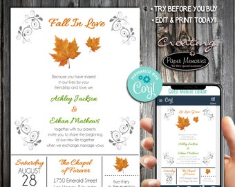 Fall Leaf Invitations Set, RSVP, Inserts - Editable Text, Download, Personalized, Wedding, Birthday, Baby Shower, Anniversary, Fall In Love