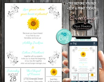 Sunflower Invitations Set, RSVP, Inserts - Editable Text, Download, Personalized, Wedding, Birthday, Baby Shower, Anniversary,