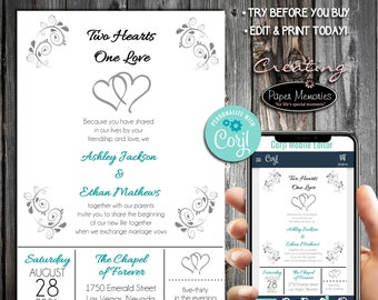 Hearts Invitations Set, RSVP, Inserts - Editable Text, Download, Personalized, Wedding, Birthday, Baby Shower, Anniversary,