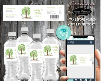 Tree Mini Water Bottle Labels - Editable Text, Download, Personalized, Wedding, Labels, Birthday, Baby Shower, Anniversary, Favors