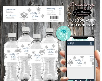 Snowflake Water Bottle Labels - Editable Text, Download, Personalized, Wedding, Labels, Birthday, Baby Shower, Anniversary, Favors
