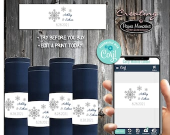 Snowflake Napkin Wraps - Editable Text, Download, Personalized, Wedding, Decor, Birthday, Baby Shower, Anniversary, Winter Wonderland