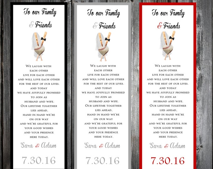 Baseball Heart 100 Wedding personalized and printed Bookmarks Favor