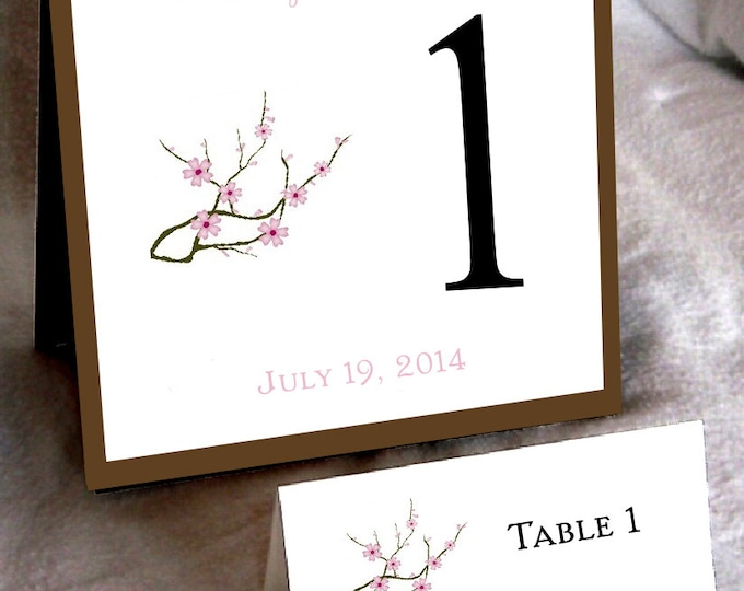 25 Cherry Blossoms Pink Table Numbers and 250 place settings