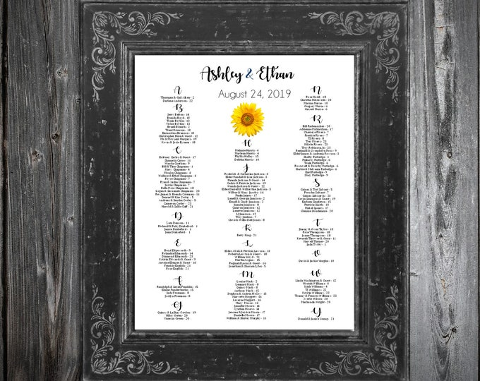 Wedding Seating Chart for Table Assignments for your Wedding Reception - Sunflower - Printable PDF File