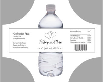 100 Wedding Water Bottle Labels - Favor Wraps - Double Hearts - Printed - Personalized