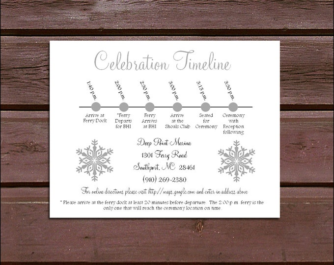 100 Snowflake Timeline to include with your Wedding Invitations. Includes printing and personalization