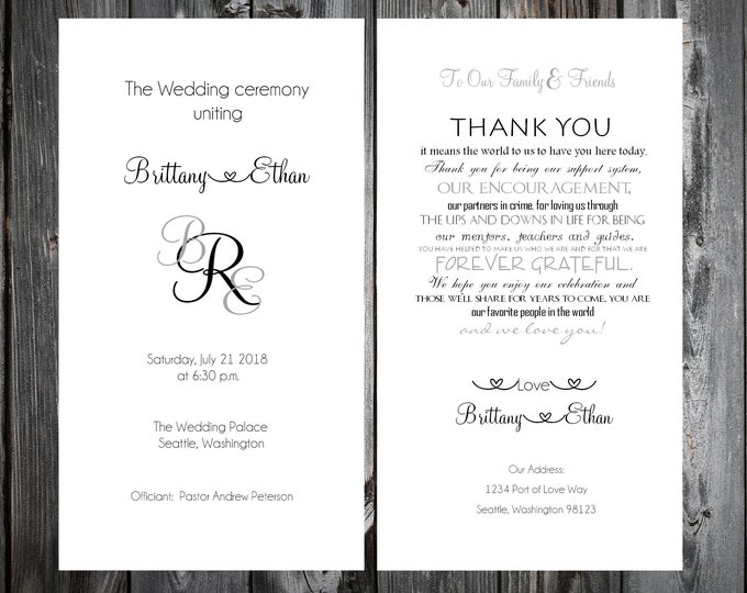 100 Wedding Programs - Monogram - Printed - Personalized - Monogrammed