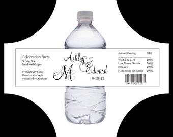 150 Monogram water bottle labels - Wedding favors- monogrammed