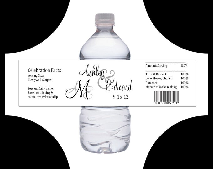 150 Monogram water bottle labels - Wedding favors- monogrammed