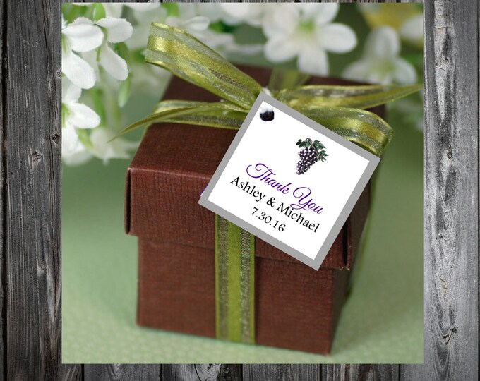 Wine Grapes Rustic Vineyard  100 Printed and Personalized Favor Tags. Beach Wedding favors