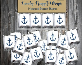 160 Nautical Beach Anchor Candy Chocolate Wraps - Wedding Favors