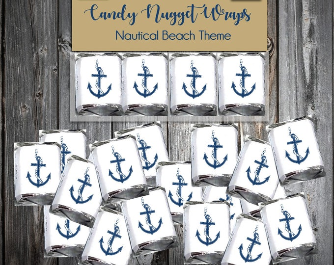 160 Nautical Beach Anchor Candy Chocolate Wraps - Wedding Favors Wrappers