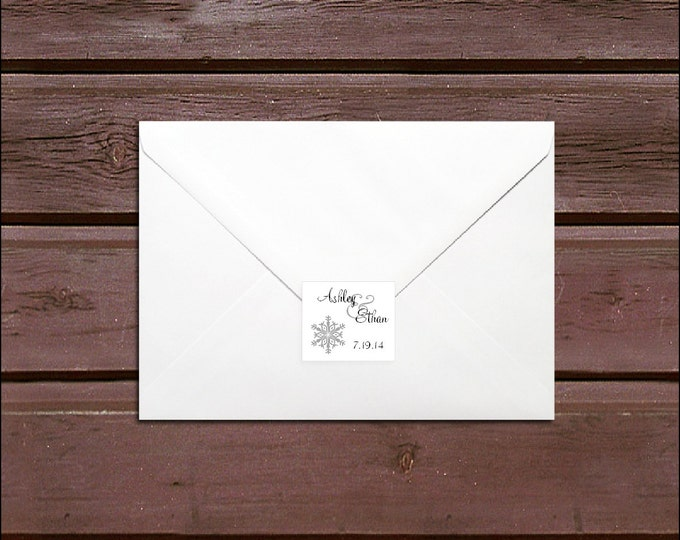 100 Snowflake Wedding Envelope Seals. Personalized Sticker Labels.