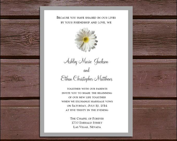 White Daisy Wedding Invitations, RSVP's, Reception Insert w/ FREE Calendar Stickers