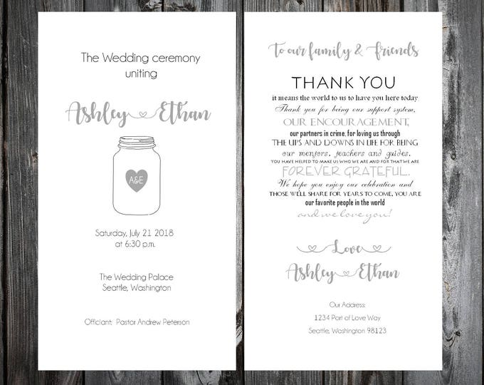 100 Mason Jar Wedding Ceremony Programs