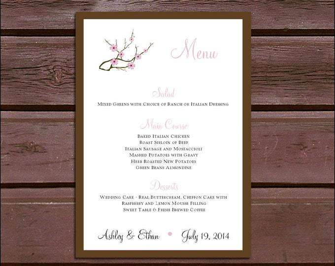 100 Cherry Blossoms Wedding Menu Cards - Dinner Menus