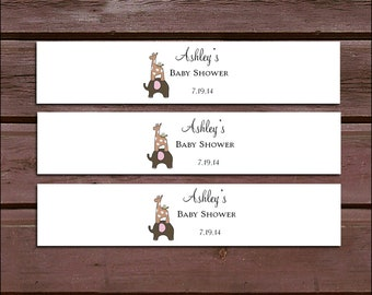 25 ELEPHANT & GIRAFFE Baby Shower Invitation Belly Bands Wraps.  Includes personalization and  printing