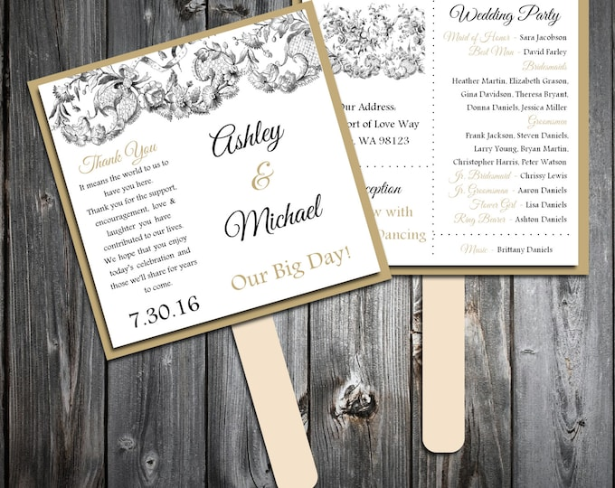 Lace and Burlap Rustic Theme Program Fans Kit - Printing Included. Wedding ceremony programs