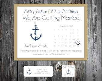 75 Wedding Save the Date Cards - Nautical Beach Anchor - Printed - Personalized Save the Dates Invitations