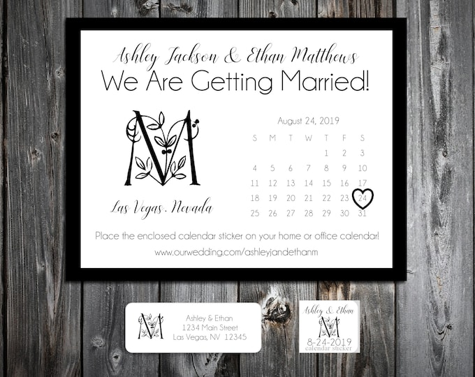 50 Wedding Save the Date Cards - Monogram Floral Letter - Printed - Personalized Save the Dates Invitations