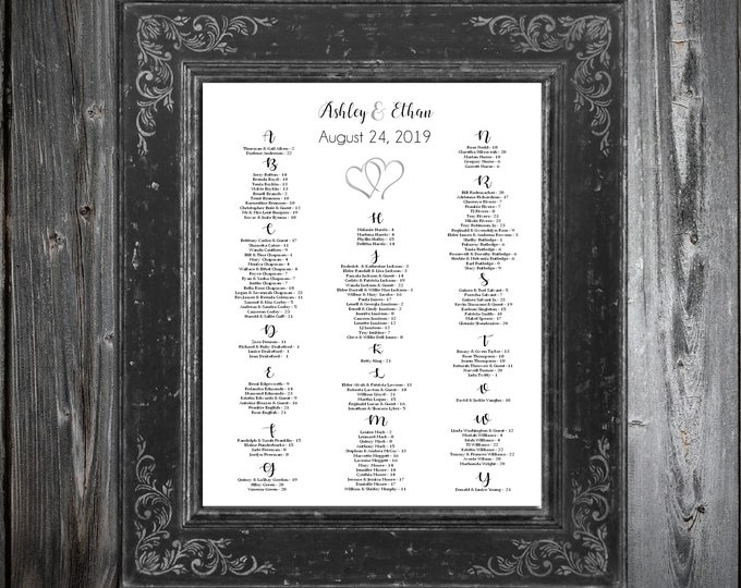 Wedding Seating Chart for Table Assignments for your Wedding Reception - Double Hearts - Printable PDF File