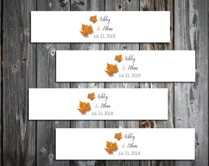 150 Fall Leaf Wedding Napkin Ring Cuffs Wraps. Personalized Favors  - Fall In Love