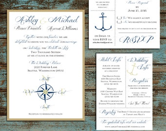Nautical Compass Anchor  Wedding Personalized and Printed Invitations, RSVP, Reception Hotel Inserts w/ FREE Envelope seals