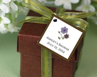 25 PURPLE & BROWN DAISIES Baby Shower Favor Tags.  Price includes personalization, printing.