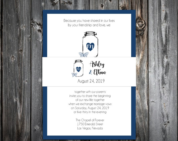 100 Wedding Invitations Belly Bands - Mason Jar with Butterfly - Printed - Personalized