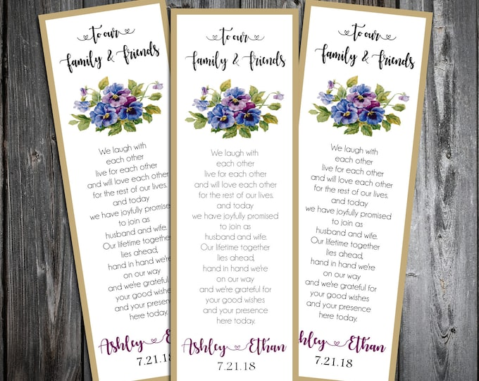 Pansies Flowers 100 Wedding personalized and printed Bookmarks Favor