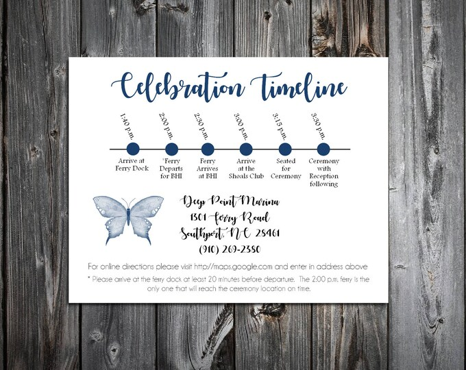 100 Butterfly Timeline to include with your Wedding Invitations. Includes printing