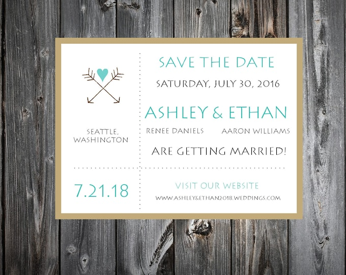 Arrow Wedding Save the Date Cards Invitations